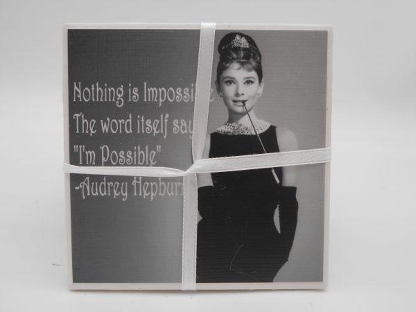 coaster-audrey-hepburn-impossible-quote-cms-treasures-under-sugar-loaf-winona-minnesota-antiques-collectibles-crafts